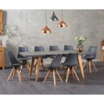 Nicole Extending Grey Dining Table with Ophelia Faux Leather Square Leg Chairs