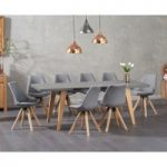 Nicole Extending Grey Dining Table with Ophelia Fabric Square Leg Chairs
