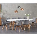 Nicole Extending White Dining Table with Demi Fabric Chairs