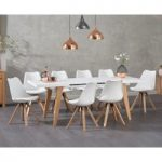 Nicole Extending White Dining Table with Ophelia Faux Leather Square Leg Chairs