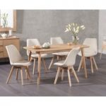 Newark 150cm Oak Dining Table with Demi Fabric Chairs