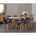 Newark 180cm Oak Dining Table with Demi Faux Leather Chairs