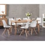 Newark 180cm Oak Dining Table with Ophelia Round Leg Faux Leather Chairs