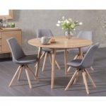 Newark 120cm Oak Dining Table with Ophelia Fabric Round Leg Chairs