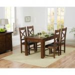 Rustique 120cm Dark Solid Oak Extending Dining Table with Cheshire Chairs