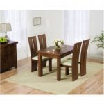 Rustique 120cm Dark Solid Oak Extending Dining Table with Montreal Chairs