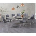 Olivia Extending Grey High Gloss Dining Table with Hamburg Fabric Chairs