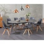 Olivia Extending Grey High Gloss Dining Table with Ophelia Faux Leather Round Leg Chairs