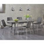 Olivia Extending Grey High Gloss Dining Table with Hamburg Faux Leather Chairs