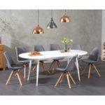 Olivia Extending White High Gloss Dining Table with Ophelia Fabric Round Leg Chairs