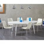 Olivia Extending White High Gloss Dining Table with Hamburg Faux Leather Chairs