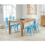 Oxford 120cm Solid Oak Dining Set with Light Blue Metal Chairs