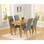 Oxford 120cm Solid Oak Dining Set with Albany Grey Chairs