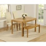 Oxford 120cm Solid Oak Dining Table with Benches and Cream Albany Chairs