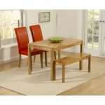 Oxford 120cm Solid Oak Dining Table with Benches and Red Albany Chairs