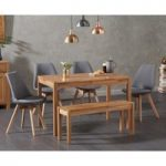 Oxford 120cm Solid Oak Dining Table with Demi Fabric Chairs and Oxford Bench