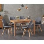 Oxford 120cm Solid Oak Dining Table with Demi Fabric Chairs