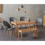 Oxford 150cm Solid Oak Dining Table with Harrogate Fabric Chairs and Oxford Bench