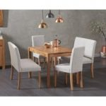 Oxford 120cm Solid Oak Dining Table with Mia Grey Benches with Backs and Mia Chairs