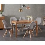 Oxford 120cm Solid Oak Dining Table with Ophelia Fabric Round Leg Chairs