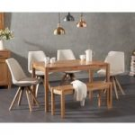 Oxford 150cm Solid Oak Dining Table with Ophelia Square Leg Fabric Chairs and Oxford Bench