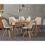 Oxford 120cm Solid Oak Dining Table with Ophelia Fabric Square Leg Chairs