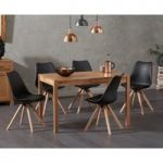 Oxford 120cm Solid Oak Dining Table with Ophelia Faux Leather Round Leg Chairs