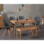 Oxford 120cm Solid Oak Dining Table with Ophelia Faux Leather Square Leg Chairs and Bench