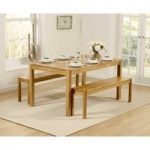 Oxford 150cm Solid Oak Dining Table with Benches