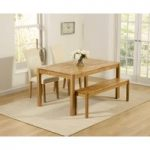 Oxford 150cm Solid Oak Dining Table with Benches and Cream Albany Chairs