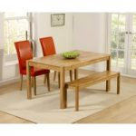 Oxford 150cm Solid Oak Dining Table with Benches and Red Albany Chairs