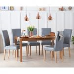 Oxford 150cm Solid Oak Dining Table with Albany Grey Chairs