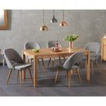 Oxford 150cm Solid Oak Dining Table with Harrogate Fabric Chairs