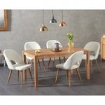 Oxford 150cm Solid Oak Dining Table with Harrogate Faux Leather Chairs
