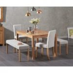 Oxford 150cm Solid Oak Dining Table with Mia Large Grey Benches and Mia Chairs
