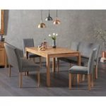 Oxford 150cm Solid Oak Dining Table with Mia Grey Plush Benches with Backs and Mia Grey Plush Chairs