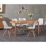 Oxford 150cm Solid Oak Dining Table with Demi Faux Leather Chairs