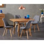 Oxford 70cm Solid Oak Extending Dining Table with Demi Fabric Chairs