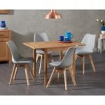 Oxford 70cm Solid Oak Extending Dining Table with Demi Faux Leather Chairs