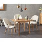 Oxford 70cm Solid Oak Extending Dining Table with Harrogate Fabric Chairs