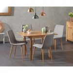 Oxford 70cm Solid Oak Extending Dining Table with Hamburg Fabric Chairs