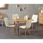 Oxford 70cm Solid Oak Extending Dining Table with Hamburg Faux Leather Chairs