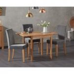 Oxford 70cm Solid Oak Extending Dining Table with Mia Plush Grey Chairs