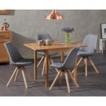 Oxford 70cm Solid Oak Extending Dining Table with Ophelia Fabric Round Leg Chairs