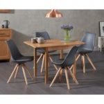 Oxford 70cm Solid Oak Extending Dining Table with Ophelia Faux Leather Round Leg Chairs