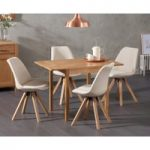 Oxford 70cm Solid Oak Extending Dining Table with Ophelia Fabric Square Leg Chairs