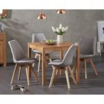 Oxford 80cm Solid Oak Dining Table with Demi Fabric Chairs
