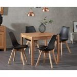 Oxford 80cm Solid Oak Dining Table with Demi Faux Leather Chairs