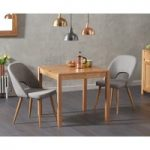 Oxford 80cm Solid Oak Dining Table with Harrogate Fabric Chairs