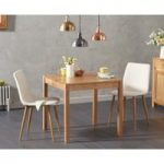 Oxford 80cm Solid Oak Dining Table with Hamburg Fabric Chairs